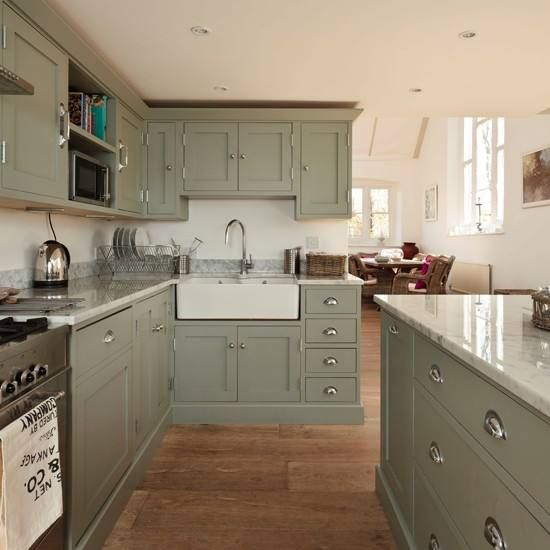 I Also Love This Green Grey Colour For Cabinets And Of Course The Sink Green Kitchen Cabinets Kitchen Design Country Kitchen