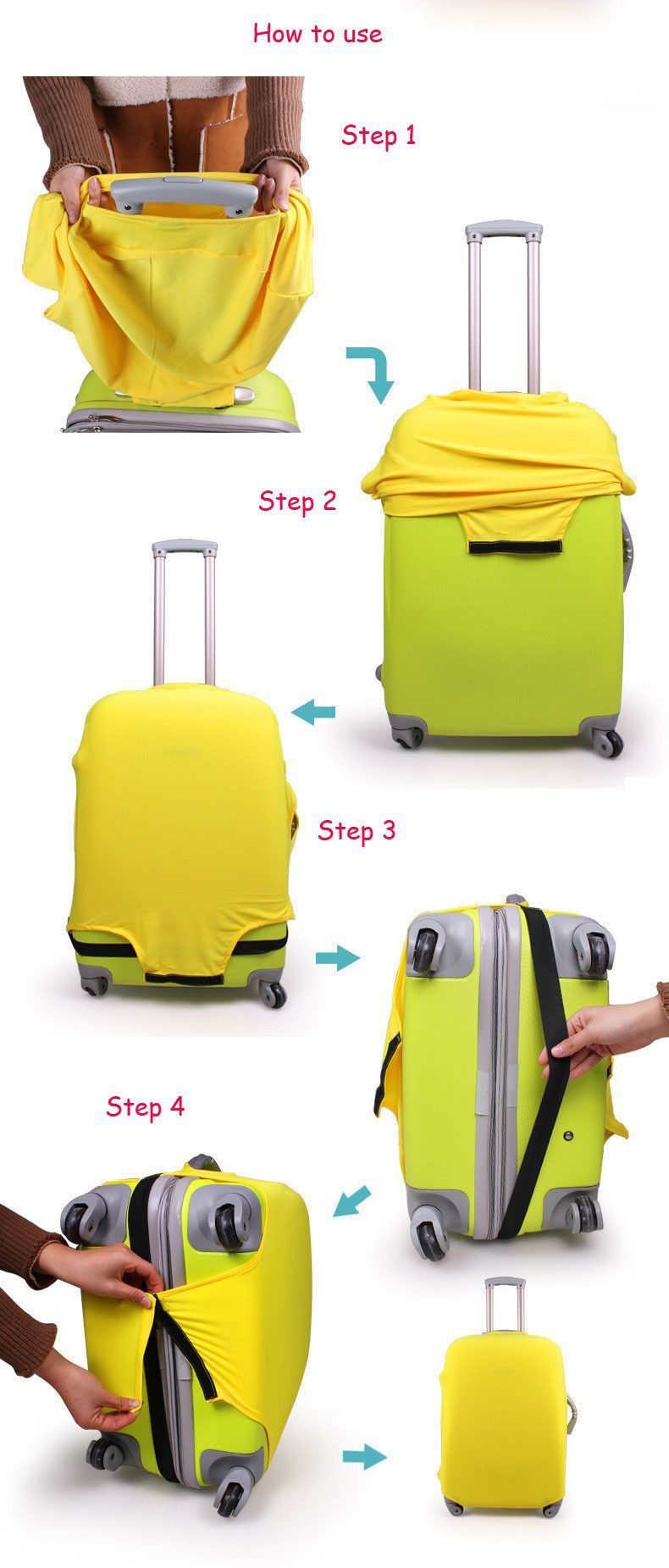 Colorful Luggage Travel Protector Suitcase Cover Trolley Suitcase Bags Black Dustproof