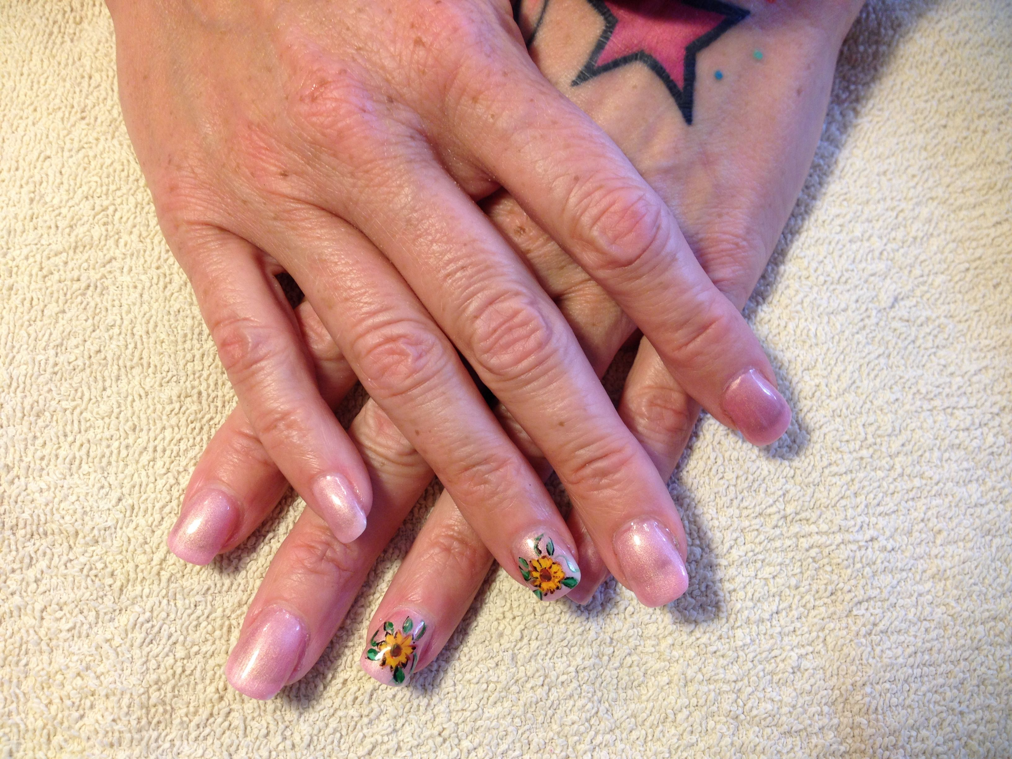 Sunflower spring nails | Real nails for the Real you | Pinterest ...