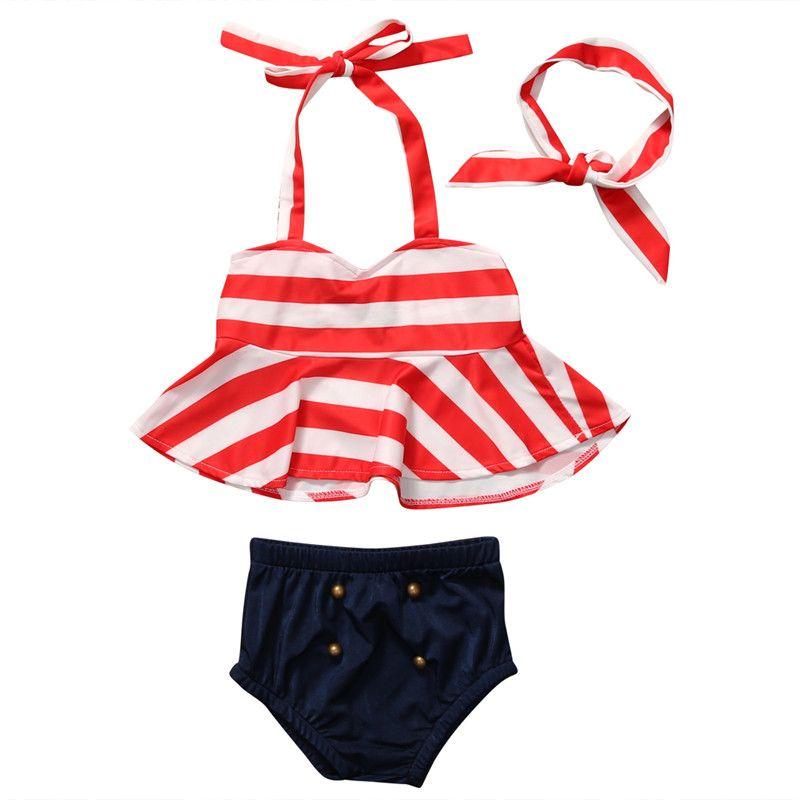 2017 Striped Navy captain children swimsuit kids girl swimwear swimsuit for kids baby girl bikini toddler girls bathing suits