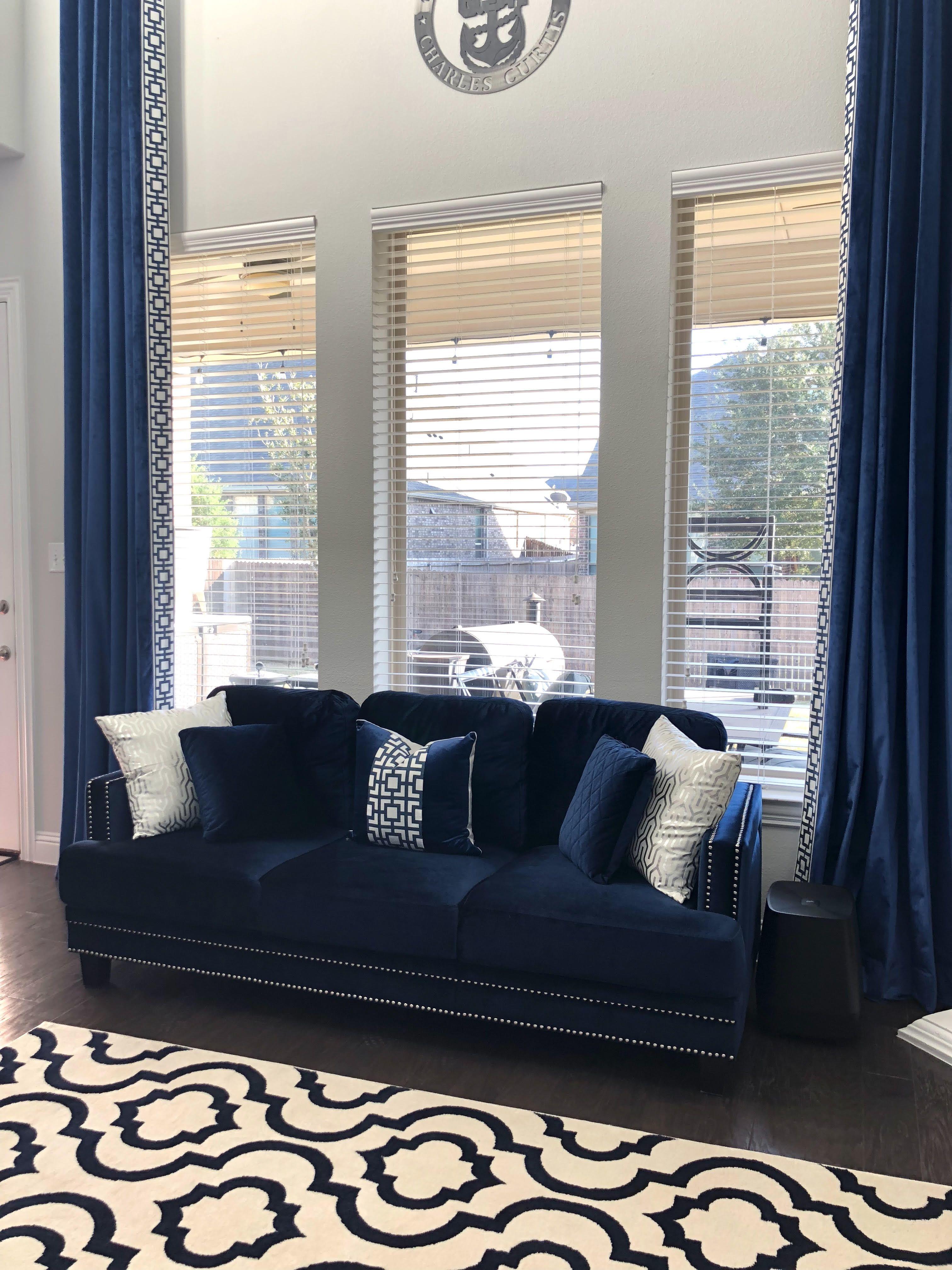 Navy Blue Velvet Drapes High Ceiling Living Room Living Room Draperies Living Room Drapes