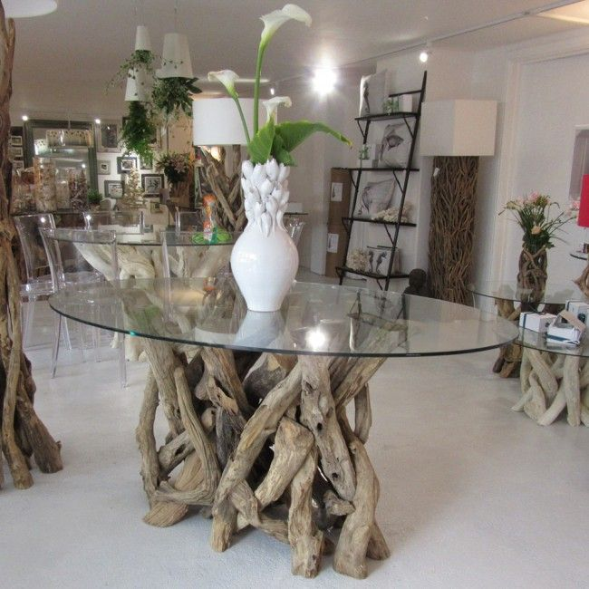 6 Seater Natural Driftwood Oval Dining Table Base Only Dining