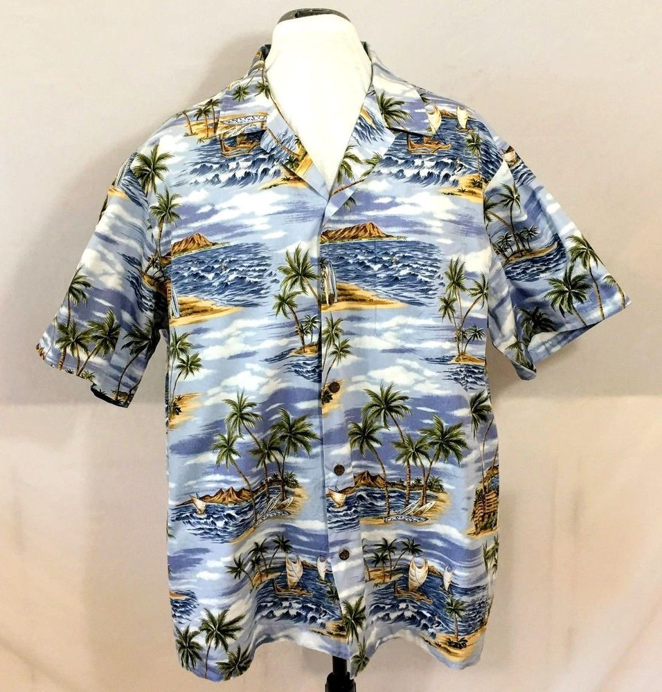 621e90b8 Styled by RJC LTD Hawaiian Aloha Shirt. Pictures surf boards, surfers, tiki  huts, outrigger canoes, palm trees, beaches. Made in Hawaii. Excellent  Condition ...