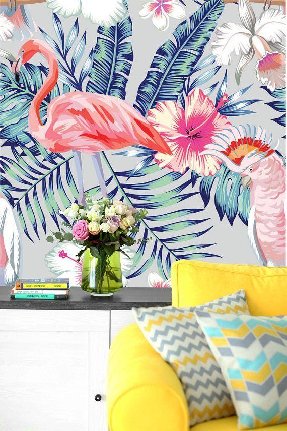 Removable Wallpaper Mural Peel Stick Tropical Bird Pink Mural Wallpaper Mural Bird Houses Painted