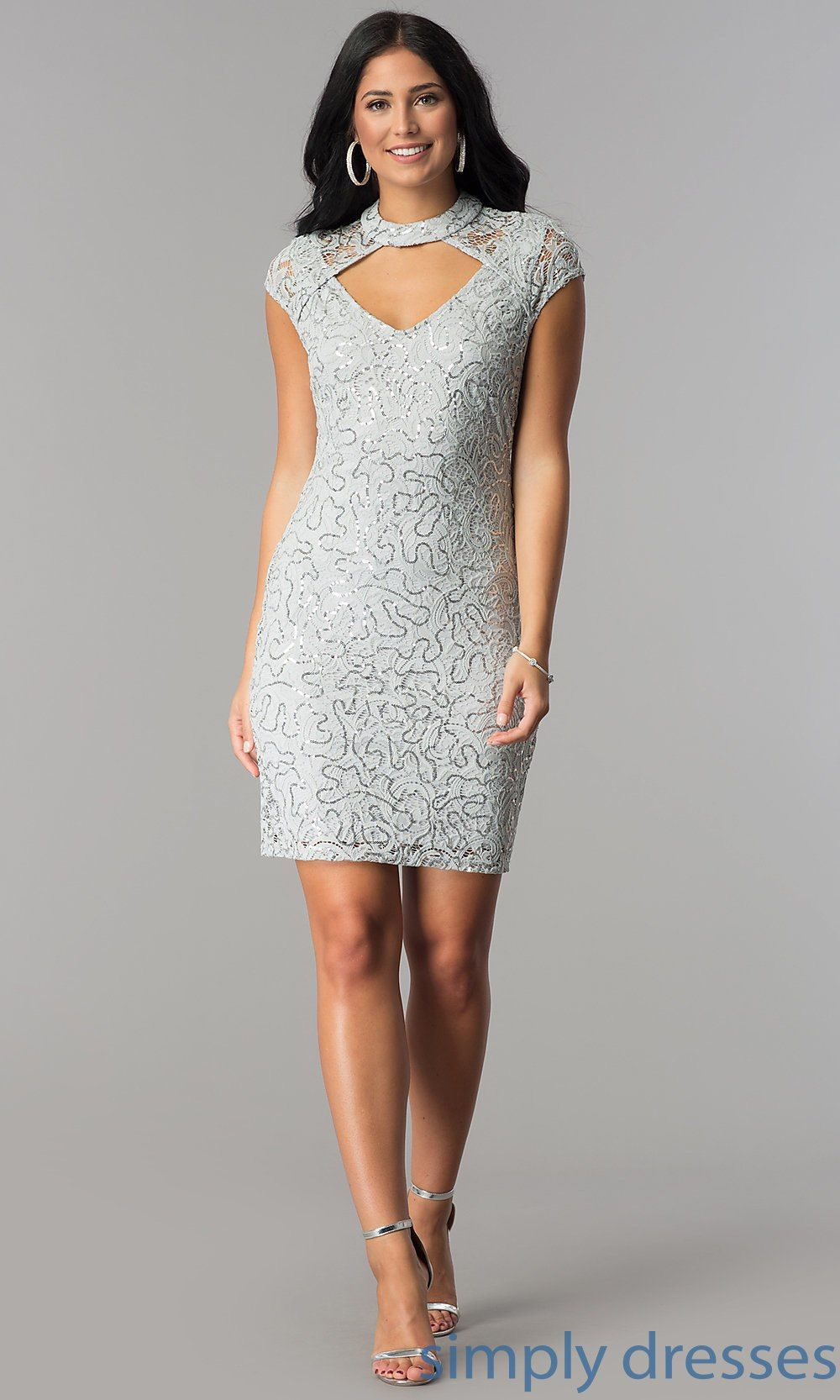 2bdb979c1 Shop silver short party dresses with sequin lace at Simply Dresses.  Semi-formal junior-size lace dresses under $100 with cut outs and collars.