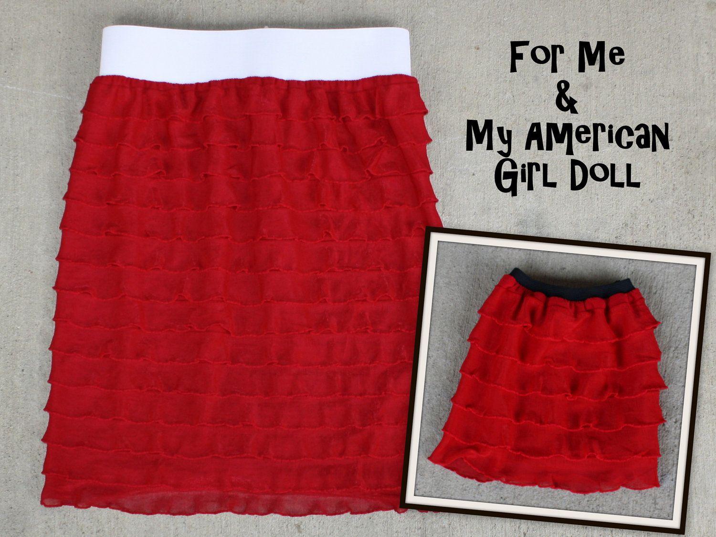 American Girl Doll Matching Knit Ruffle Skirt Set. $22.00, via Etsy.