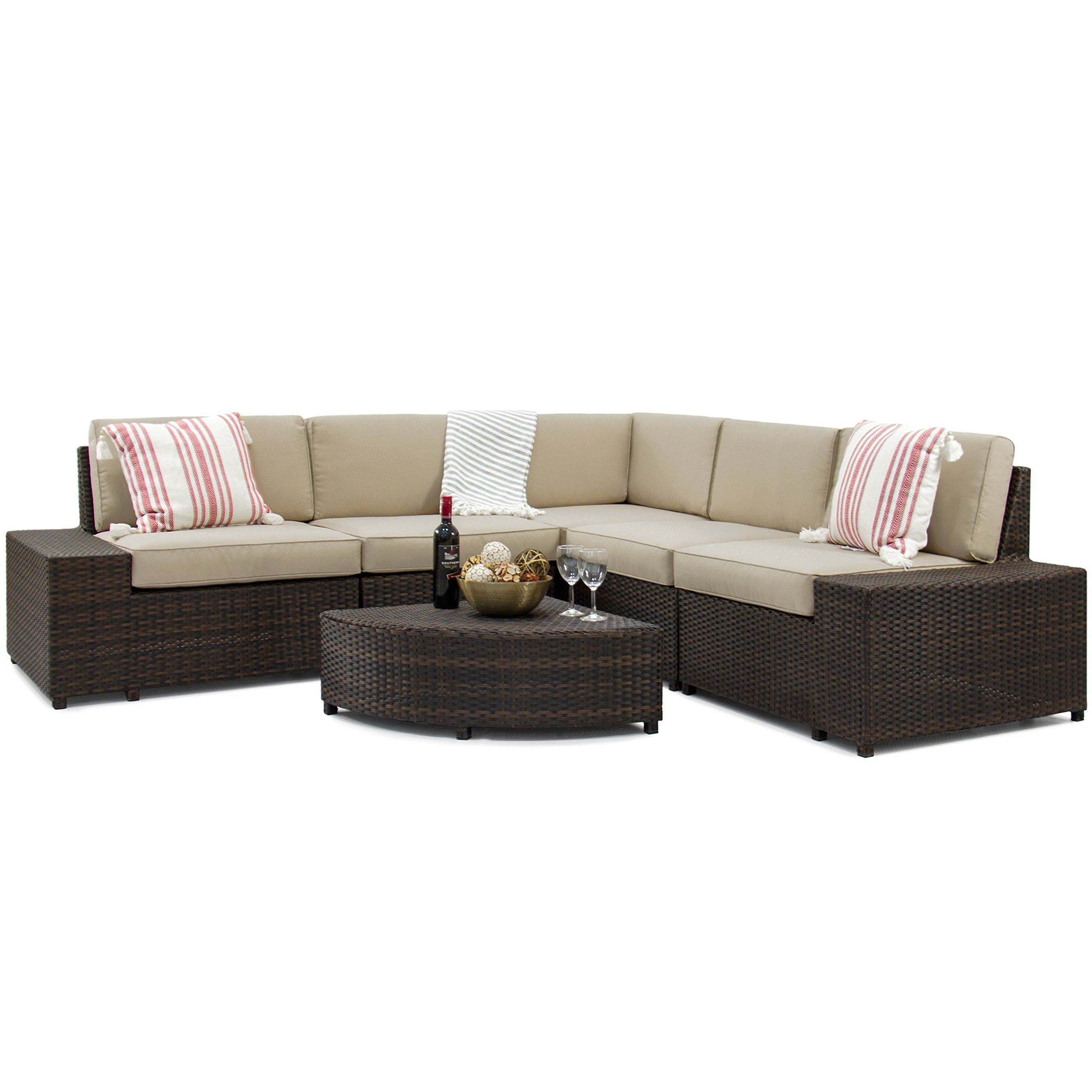 Best Choice Products Patio Furniture 6 Piece Wicker Sectional Sofa