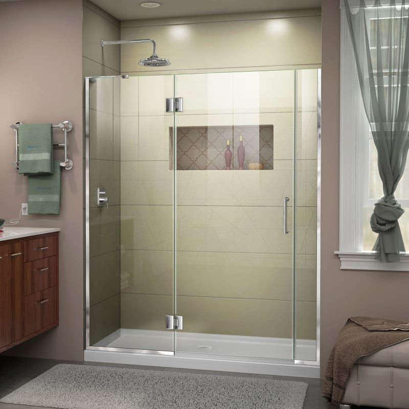 "DreamLine D3230672L-01 Chrome Unidoor-X 72"" High x 53-1/2"" Wide Hinged Frameless Shower Door with Clear Glass"