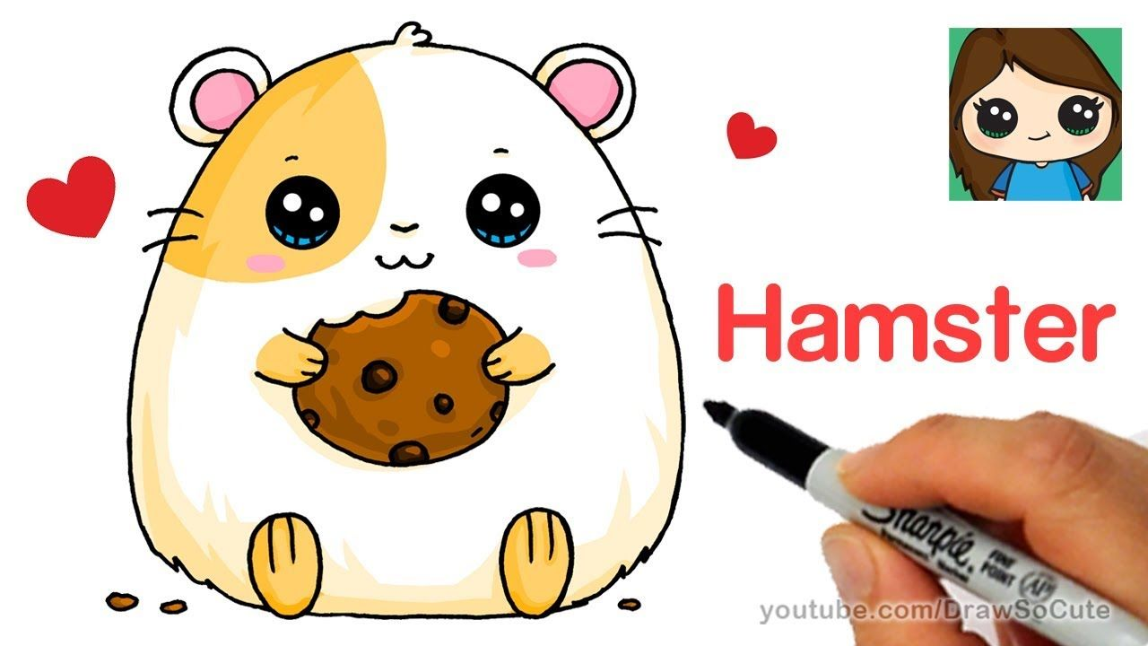 How To Draw A Hamster Super Easy Youtube Hamster Cartoon Super Easy Drawings Cute Drawings