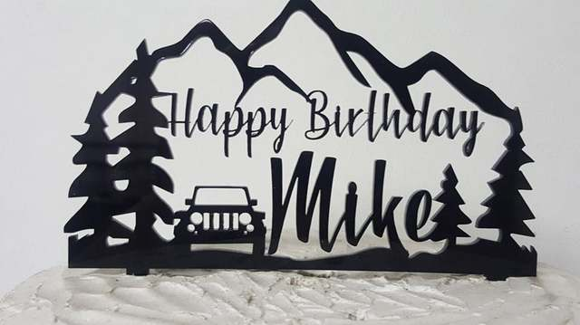 Personalized Outdoors Theme With Name Cake Topper Cake Toppers Custom Birthday Cakes Monogram Cake Toppers