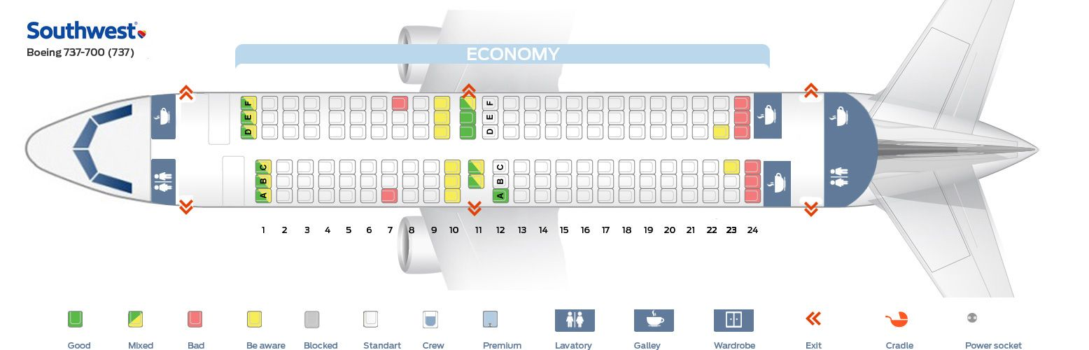 Seat Map And Seating Chart Boeing 737 700 Southwest Airlines Interior