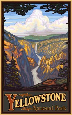 Amazon Com Northwest Art Mall 11 X 17 Poster Yellowstone Falls By Paul A Lanquist Home Kitchen National Park Posters Travel Posters Travel Artwork