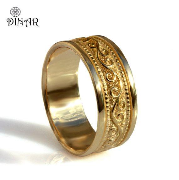 18K gold wedding band Men/'s wedding ring Yellow gold wedding ring Wedding band 14K gold ring Solid gold wedding ring Wedding ring