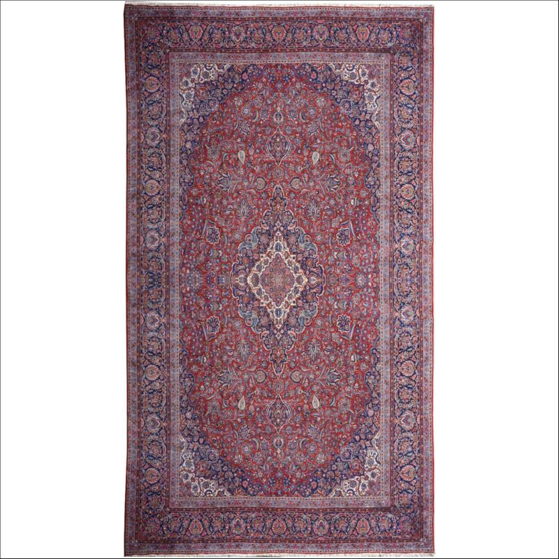 Persian Kashan Rug 18 X 11 Ft 550 X 330 Cm Red Blue Beige This Wonderful Persian Semi Antique Carpet Is In Very Good Condit Antique Rugs Rugs Antique Carpets