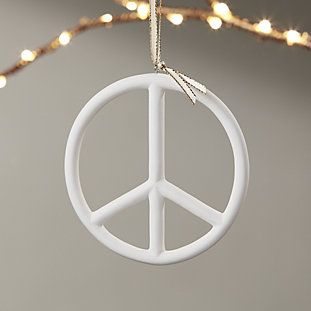 Bone China Peace Sign Ornament Modern Christmas