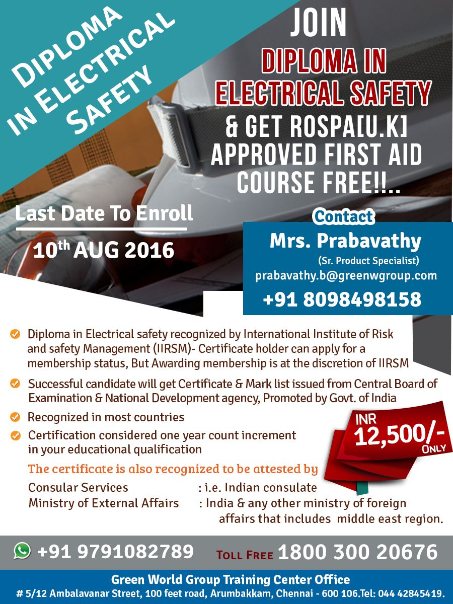 Pin by Green World on Diploma in Electrical Safety Course