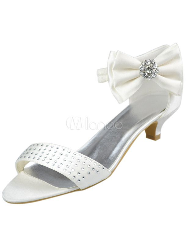 be7c1d7d620 71.99] Ivory Satin Bow Rhinestone Low Heel Bridal Sandals | Wedding ...