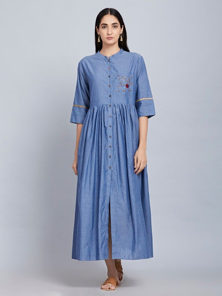 fe524eb2eab Blue Hand Embroidered Cotton Denim Shirt Dress