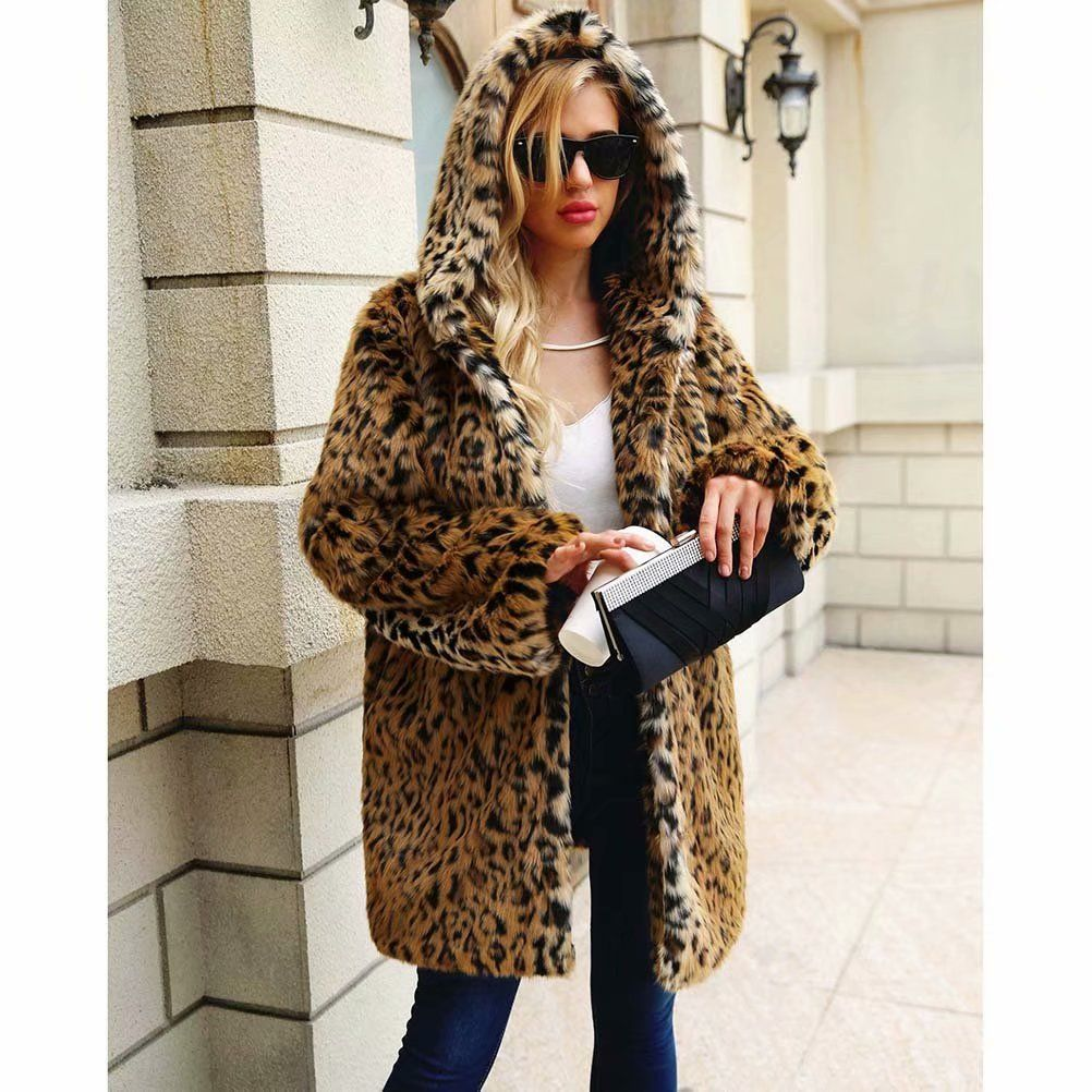 3e5c4785f109 Noroomaknet Womens Hoodies Plus Size,Juniors Winter Coats Jackets,Leopard-print  Faux Fur