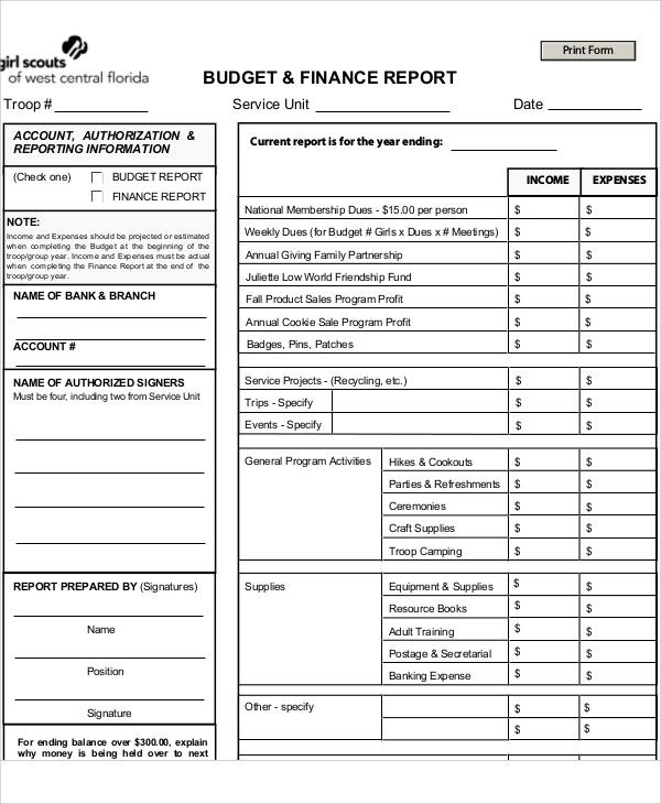 Financial Budget , Budget Report Template , budget report template - finance report format