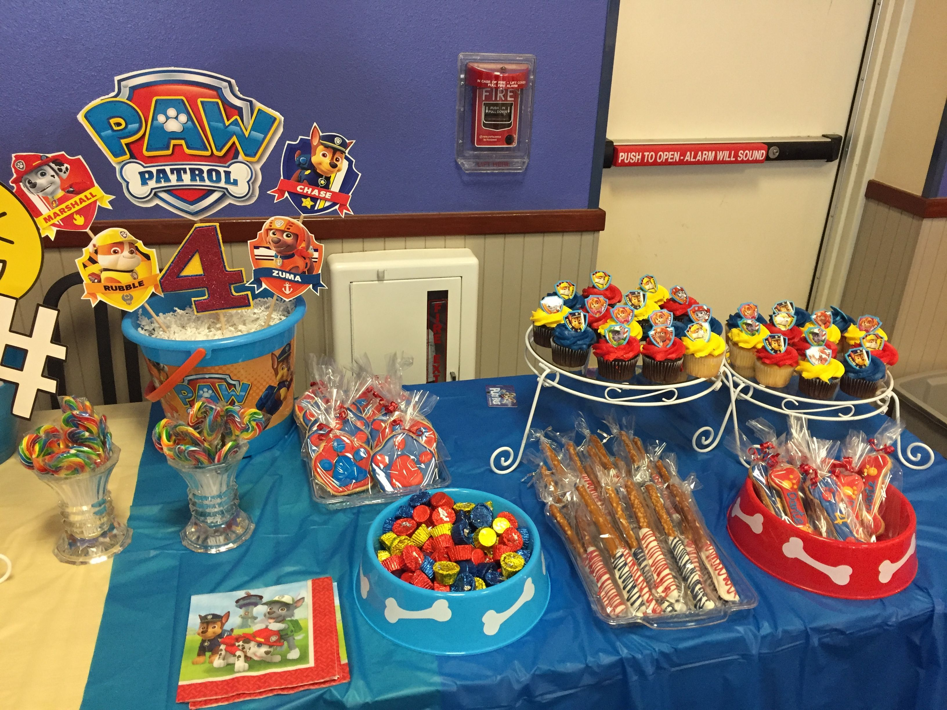 Paw Patrol Party Sweet Table With Images Paw Patrol Birthday