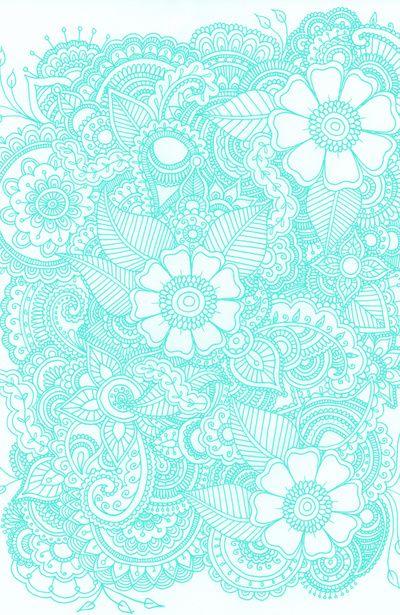 henna design aqua art print by haleyivers society6. Black Bedroom Furniture Sets. Home Design Ideas