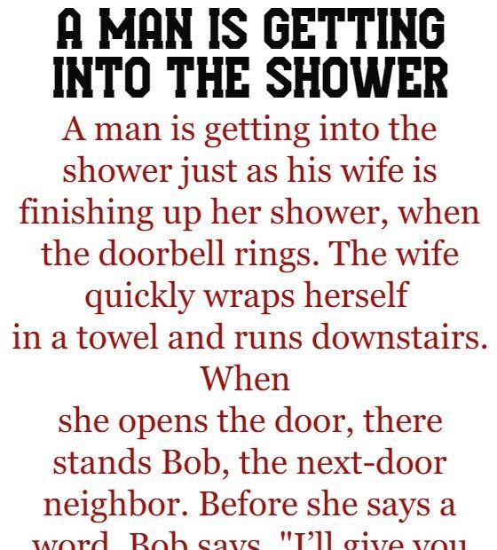 A man is getting into the shower -