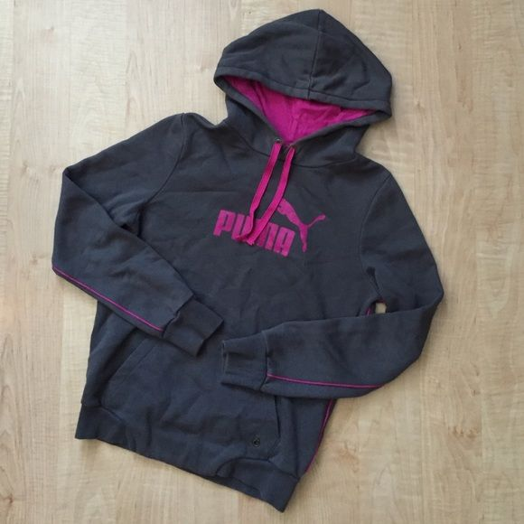 4e5cb46b286d Puma Hoodie Dark gray and raspberry lining hoodie! A little faded ...