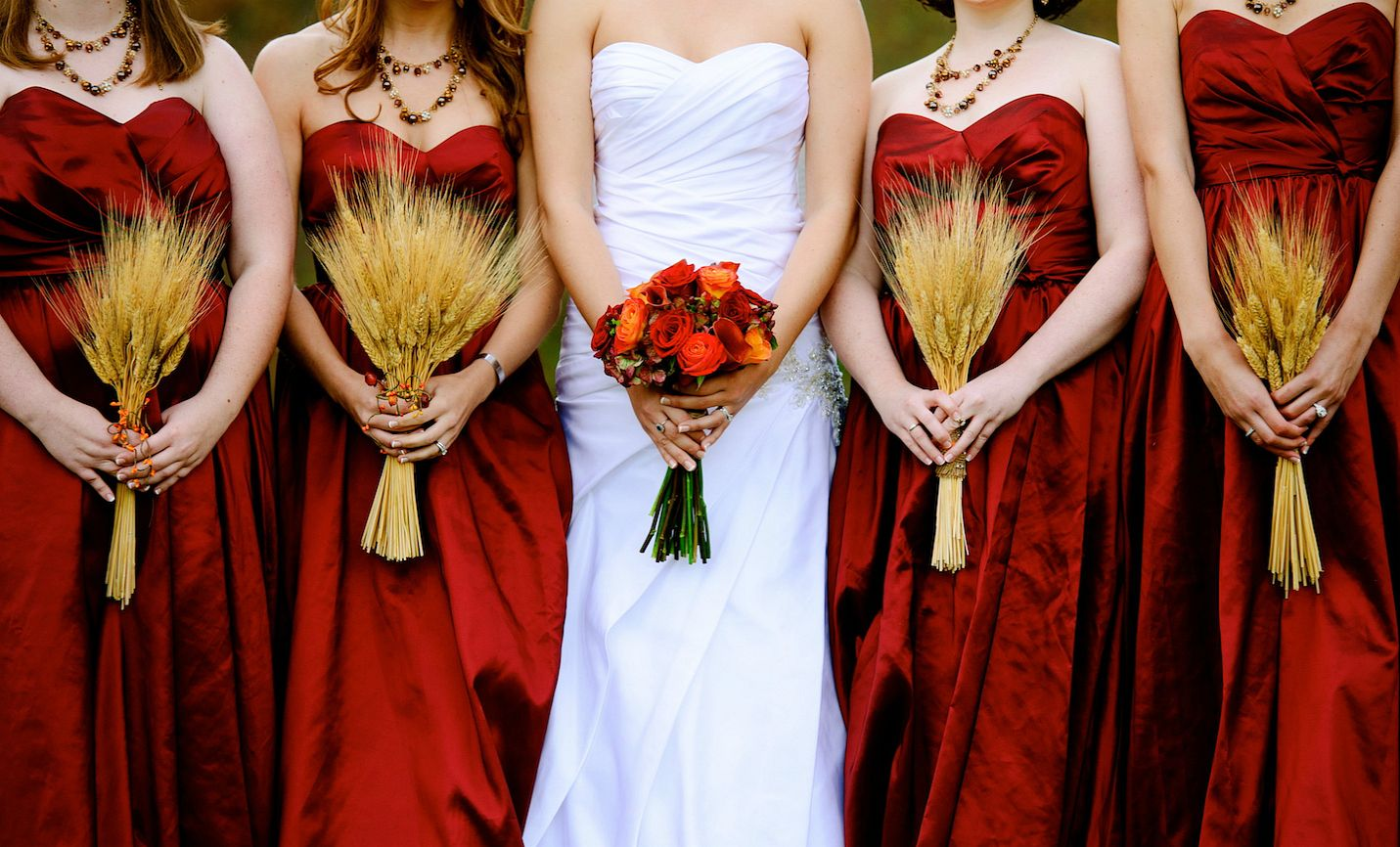 us with our bouquets :) wheat bouquets, fall flowers, fall wedding, november wedding