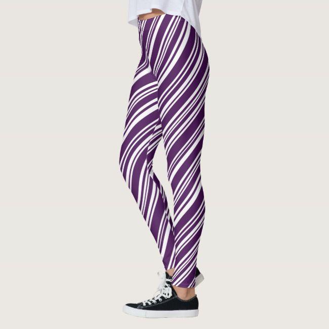 Modern Purple and White Candy Stripe Pattern Leggings