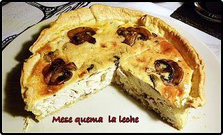 Quiche de pollo y champiñones mira la receta en http://mesequemalaleche.blogspot.com.es/2012/12/quiche-de-pollo-y-champinones.html
