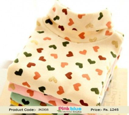 72ee7839d51c Fashionable Off-White Colorful Hearts Toddler Girl Winter Sweater ...