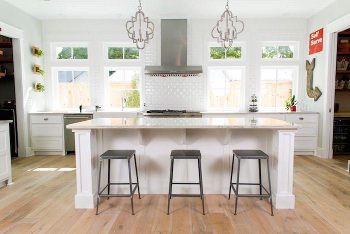 Open Concept Kitchen Beveled White Subway Tile Backsplash And Light Extraordinary Kitchen With Subway Tile Backsplash Concept