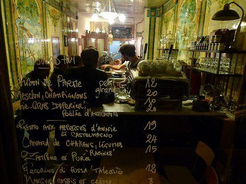 Vivant, Paris, menu on glass