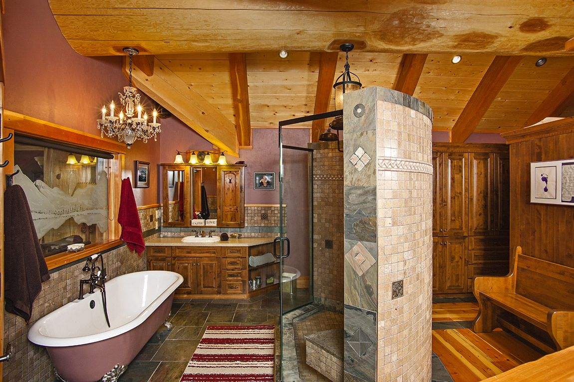 Attirant Timber Log Home Masterpiece Luxuryhomes New Pioneering Bathroom Designs