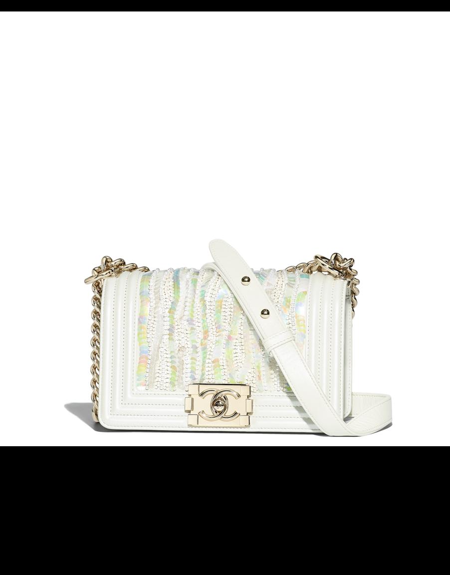 da05cdf925dd Small BOY CHANEL handbag, metallic embroidered lambskin, sequins, imitation  pearls & gold-tone metal-white - CHANEL