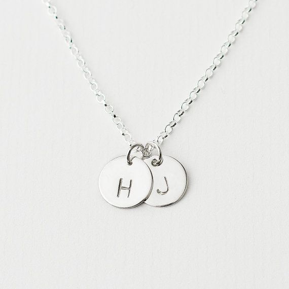 Sterling silver double initial necklace personalised initial sterling silver double initial necklace personalised initial necklace initial disc necklace silver initial charm engagement gift mozeypictures Images