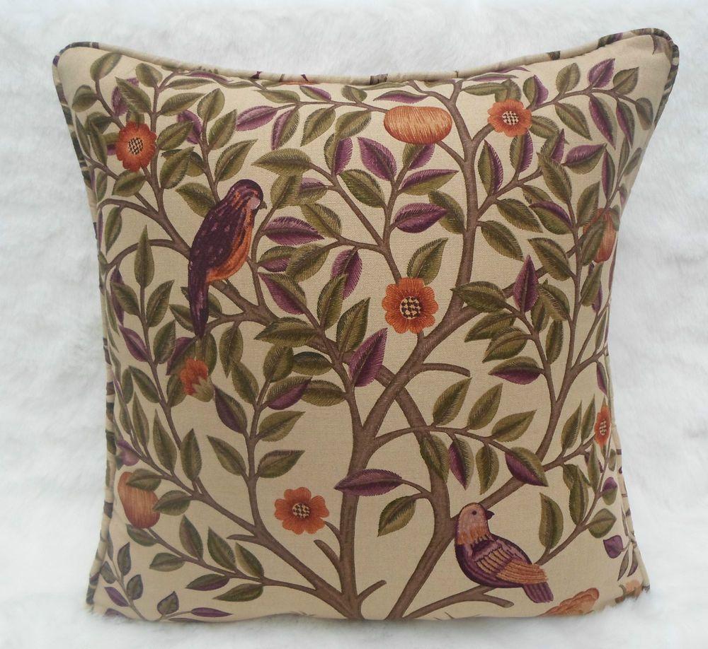 William Morris 'Kelmscott Tree' Fabric Cushion Cover in Mulberry/Russet Linen Blend