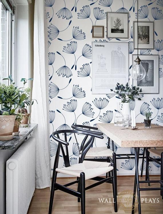 Navy Dandelion Flower Seed Pattern Removable Wallpaper - Peel & Stick, Repositionable Fabric