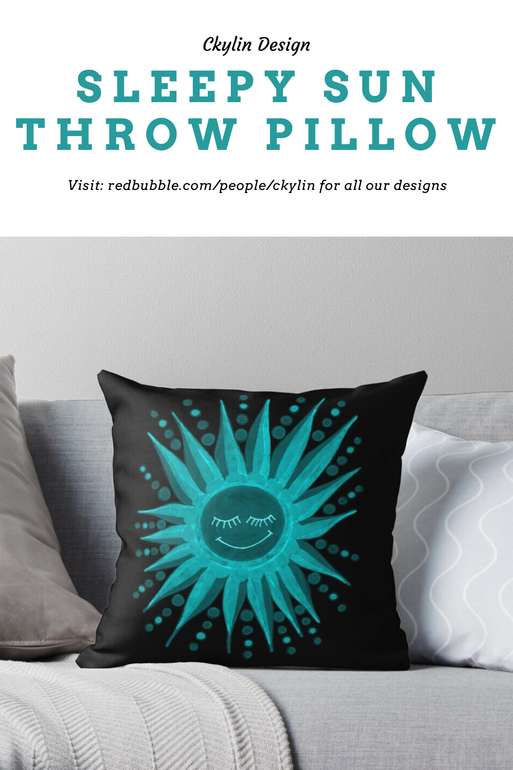 The Sleepy Sun throw pillow is available in my online store over at redbubble (following the link). The design is made first by hand, on a piece of paper, then uploaded, edited, and printed. This pillow design is available on several different sized pillows and cushions. The design was inspired by summer!  #throwpillow #pillowdesign #sunnypattern #pillowlove #sunshinelove #pillowfight #homedecor #couchinspo #pillowinspo #throwpillows