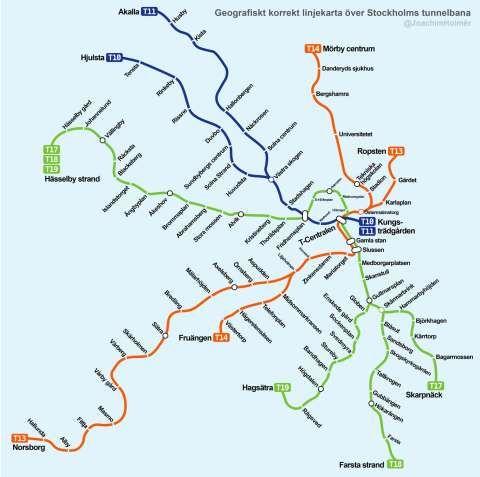 Sa Har Ser Sl Kartan Ut Pa Riktigt Stockholms Tunnelbana