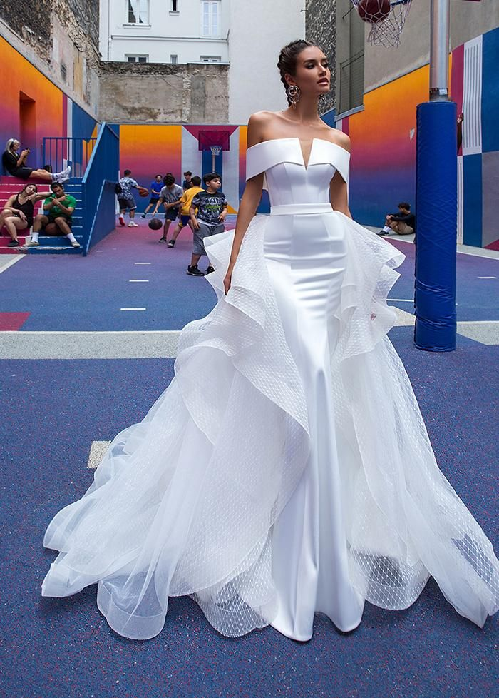 Wedding Dresses Simple, Fascinating Tulle & Satin Offthe