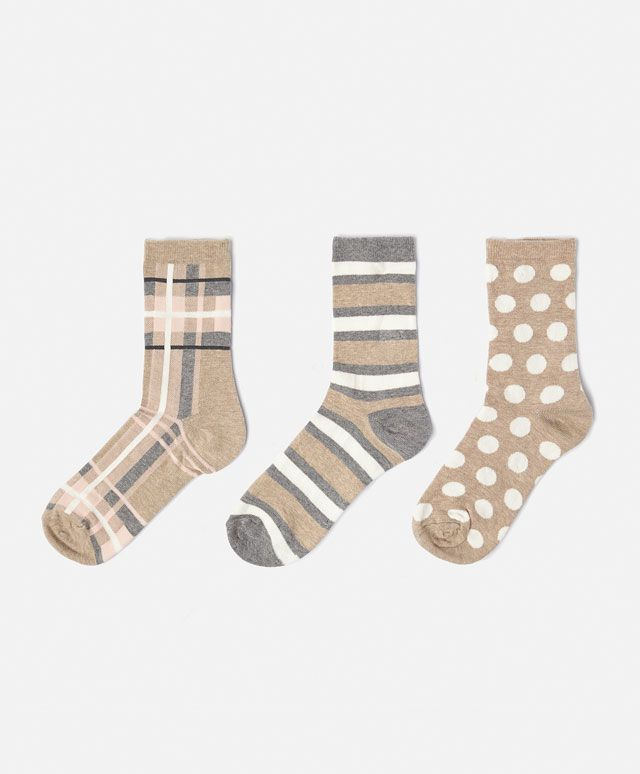 632da4ae356 3-pack soft checked socks - OYSHO