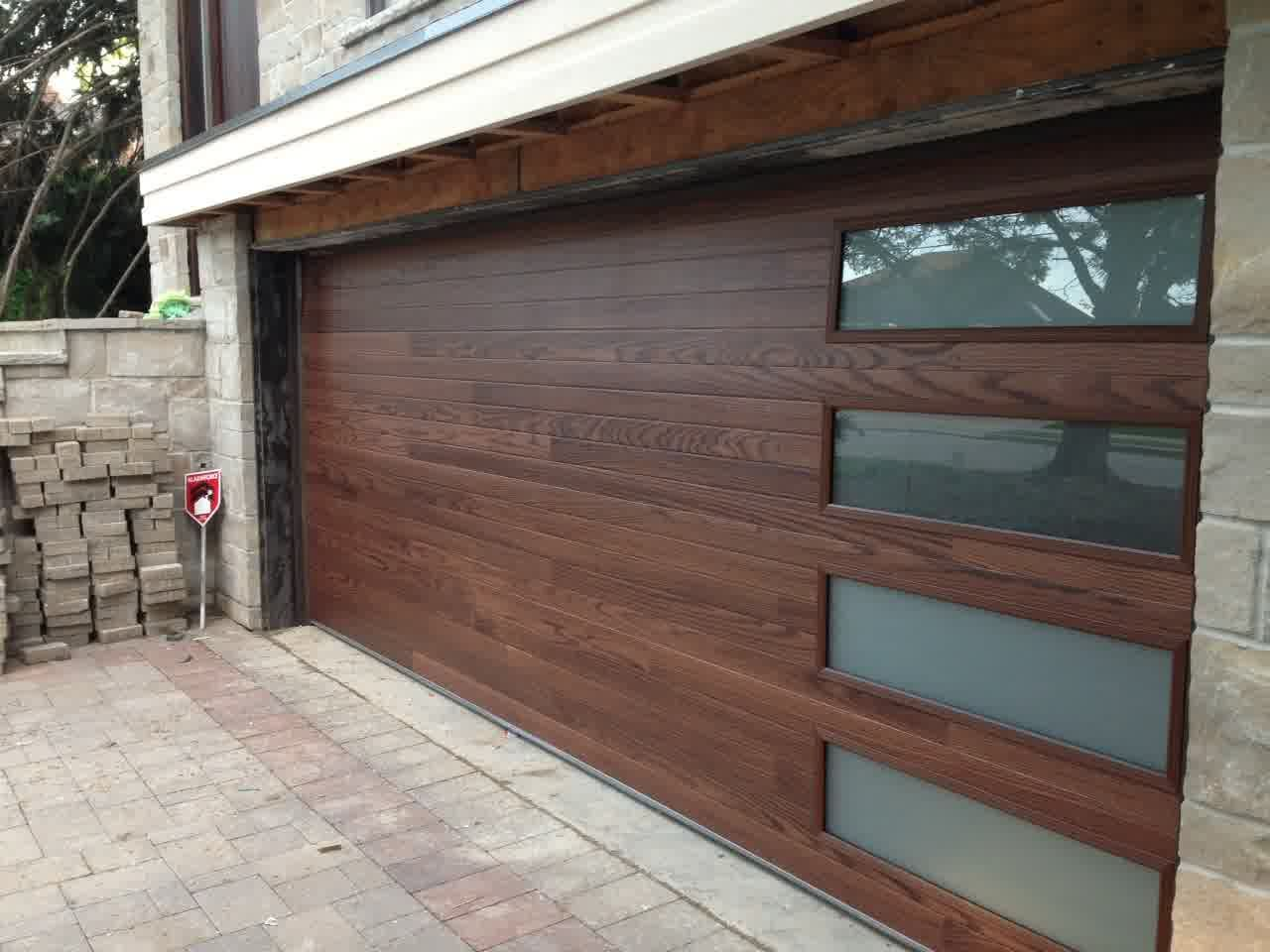 Nice Mid Century Modern Garage Doors With Wood And Glass Windows Plus Natural Brick Wall And B Contemporary Garage Doors Modern Garage Doors Garage Door Design