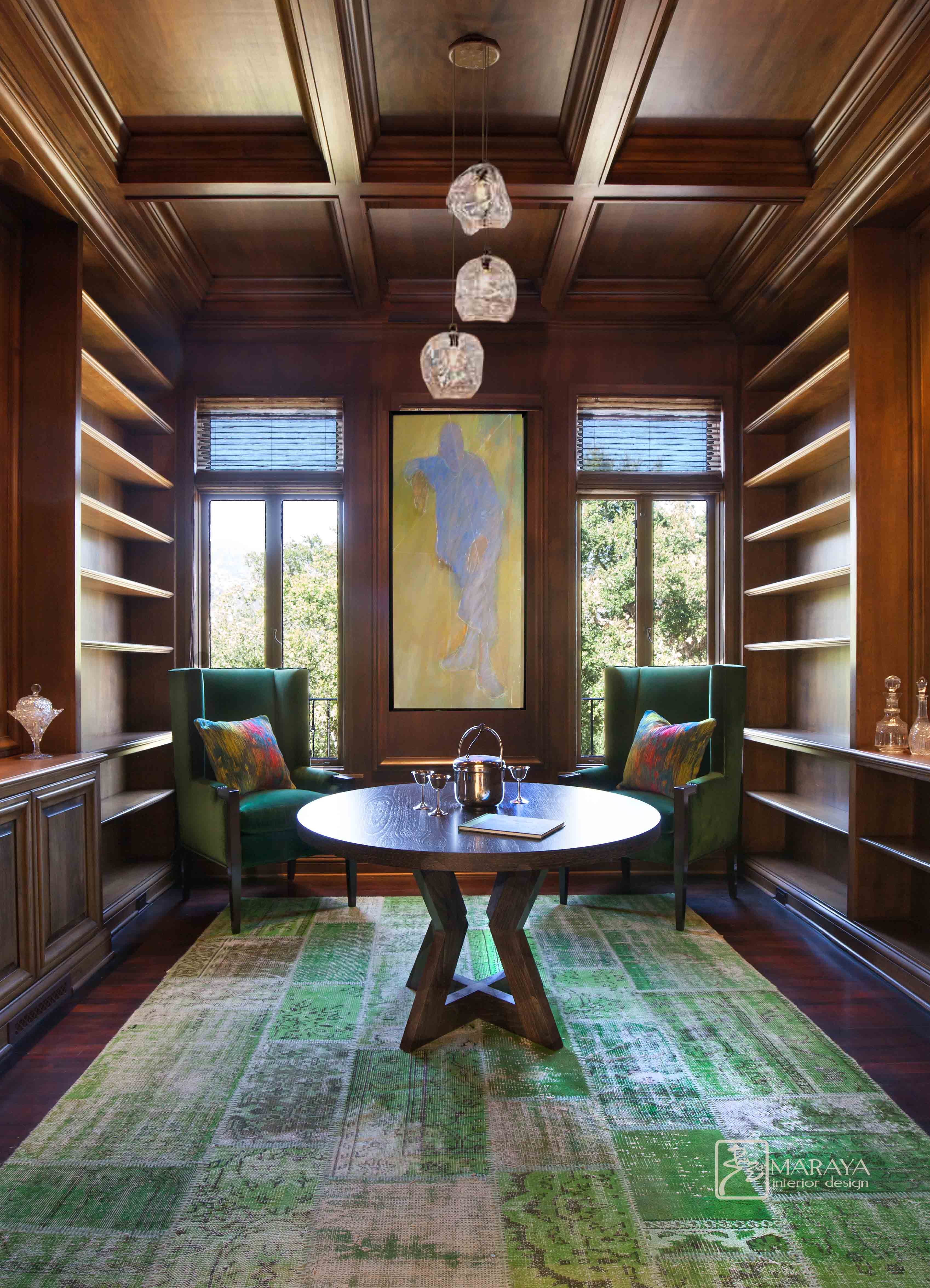coffered ceiling, bookshelves, modern art and contemporary ...