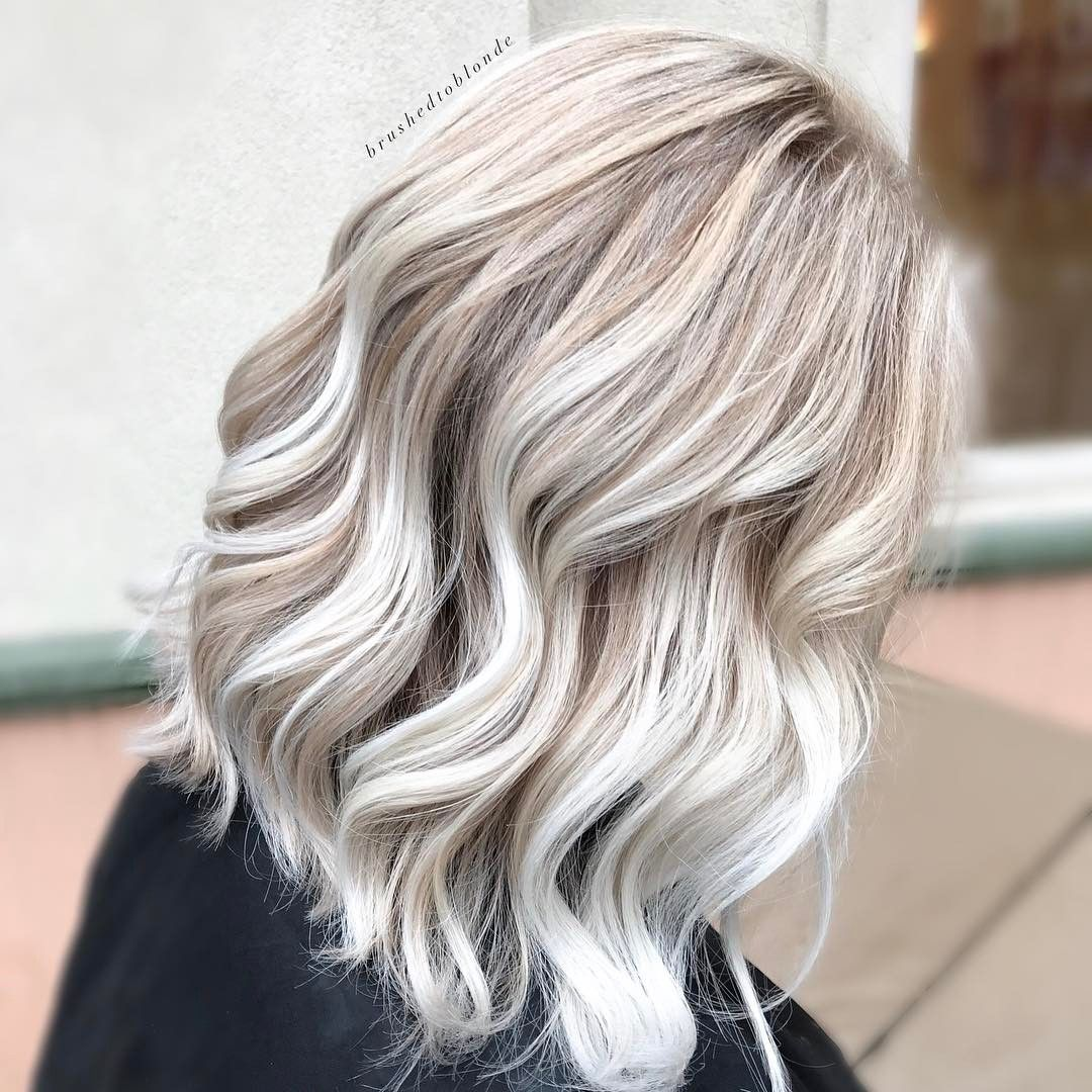 45 Perfect Midlength Blonde Hairstyles To Show Your Stylist Icy Blonde Hair Ice Blonde Hair Balayage Hair