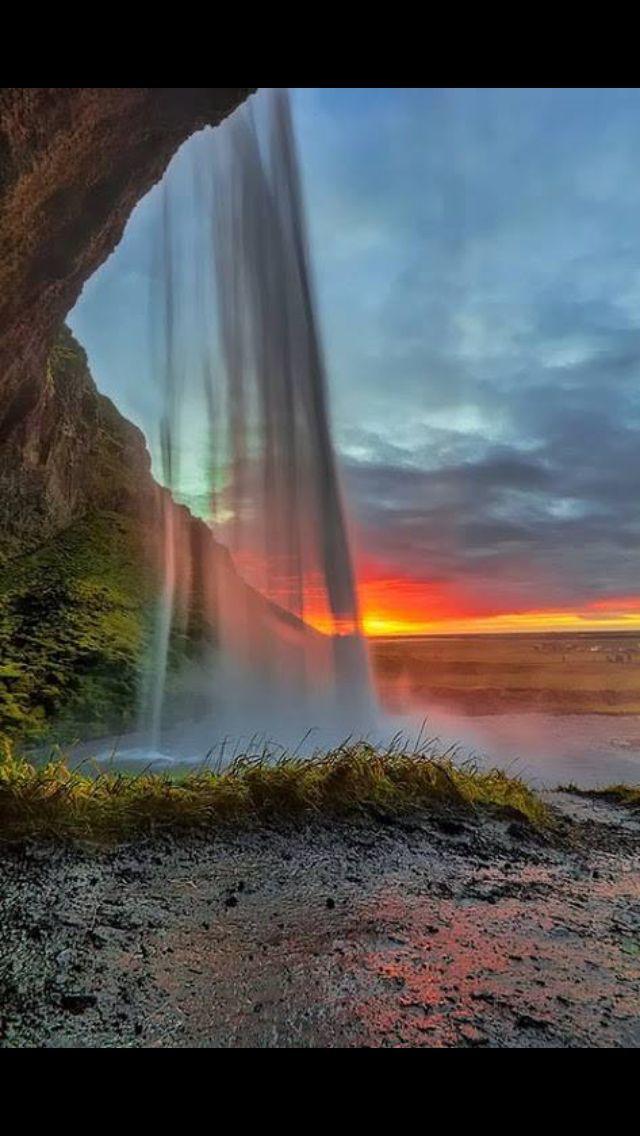 Love the sun set behind the falls