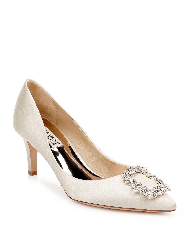 Women S Carrie Crystal Embellished Kitten Heel Pumps In Ivory Satin Satin Pumps Wedding Shoes Comfortable Badgley Mischka