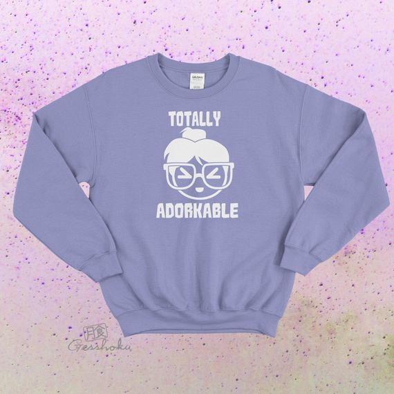 Photo of Kawaii Sweatshirt Totally Adorkable – oversize crewneck sweater – cute dorky anime girl – geeky glasses messy bun emoji