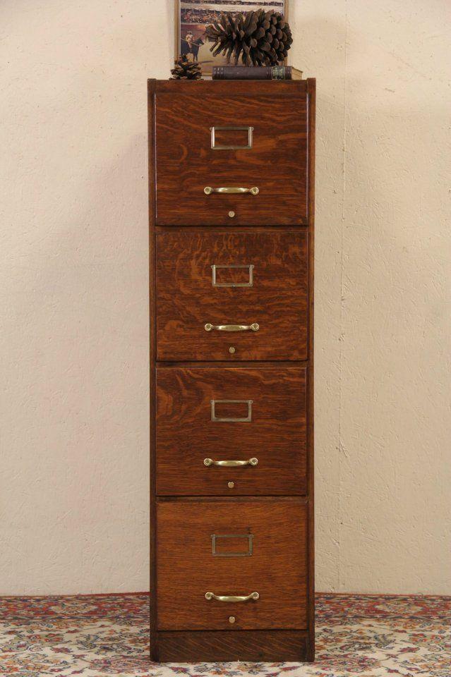 Oak 4 Drawer 1915 Antique File Cabinet